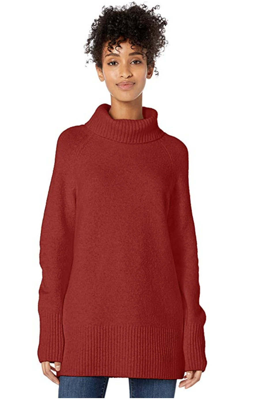 My Amazon Winter Fashion Favorites by popular Chicago fashion blog, Glass of Glam: image of a woman wearing a Amazon Goodthreads Women's Boucle Turtleneck Sweater.