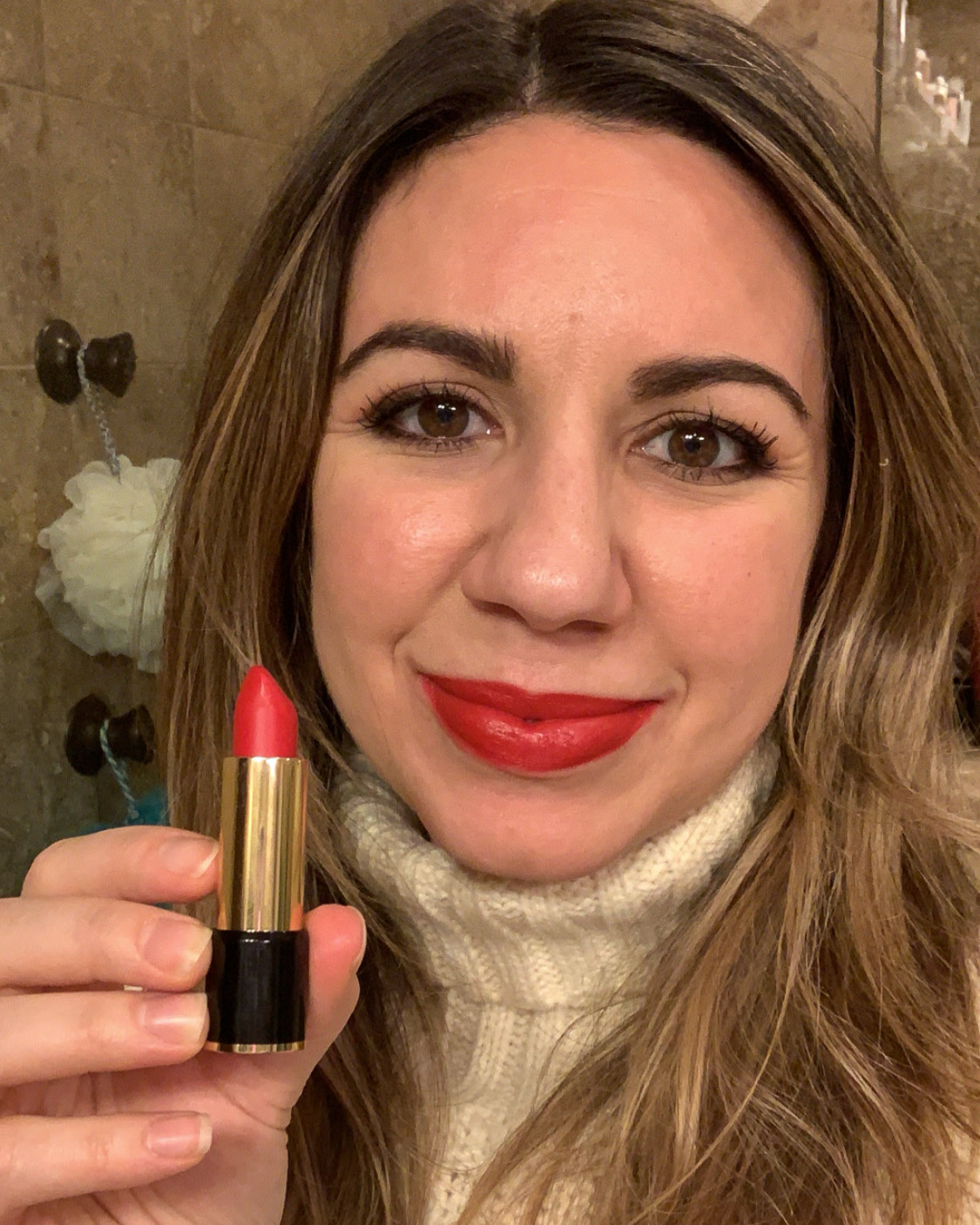 January Lipstick Challenge by popular Chicago life and style blog, Glass of Glam: image of a woman wearing Lancôme lipstick in Isabella.