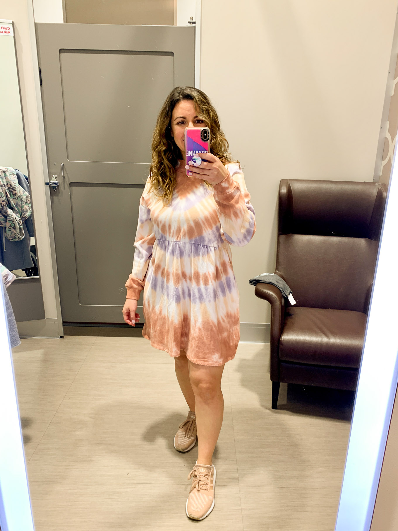 Target Try On by popular Chicago fashion blog, Glass of Glam: image of a woman wearing Target Women's Tie-Dye Long Sleeve Mock Turtleneck Knit Dress and adidas QT Racer Women's Sneakers.