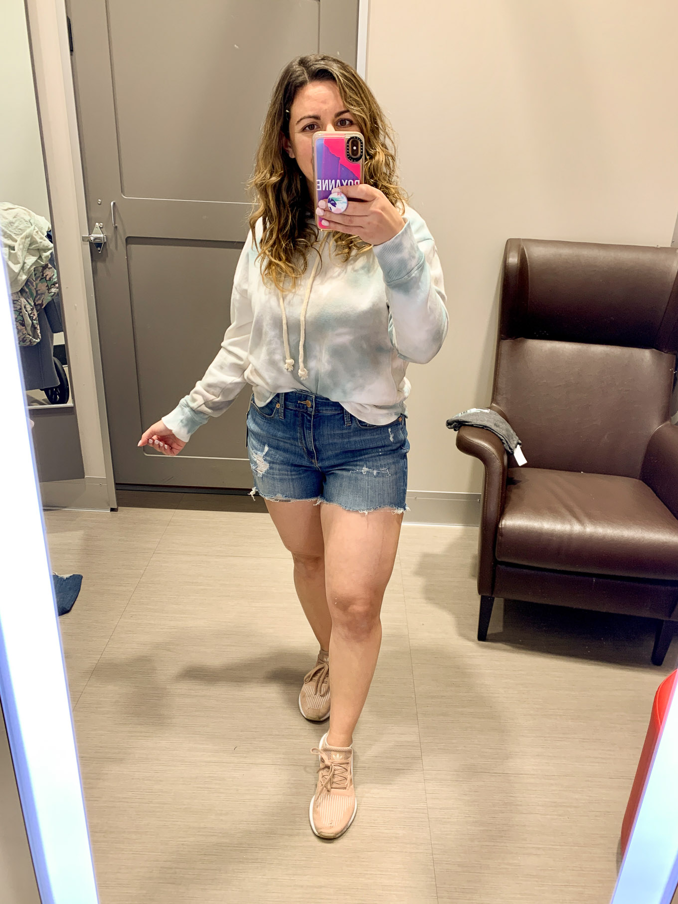 Target Try On by popular Chicago fashion blog, Glass of Glam: image of a woman wearing Target Universal Thread Women's Plus Size High-Rise Distressed Jean Shorts and a Target Universal Thread Women's Plus Size Crewneck Tie-Dye Hoodie Sweatshirt.