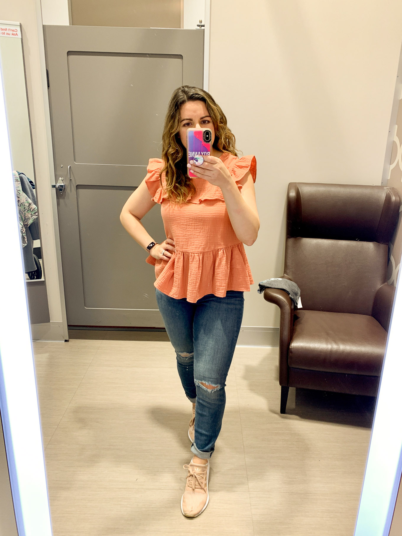Target Try On by popular Chicago fashion blog, Glass of Glam: image of a woman wearing Target Women's High-Rise Jeans and Target Women's Flutter Sleeve Crewneck Ruffle Tank Top.