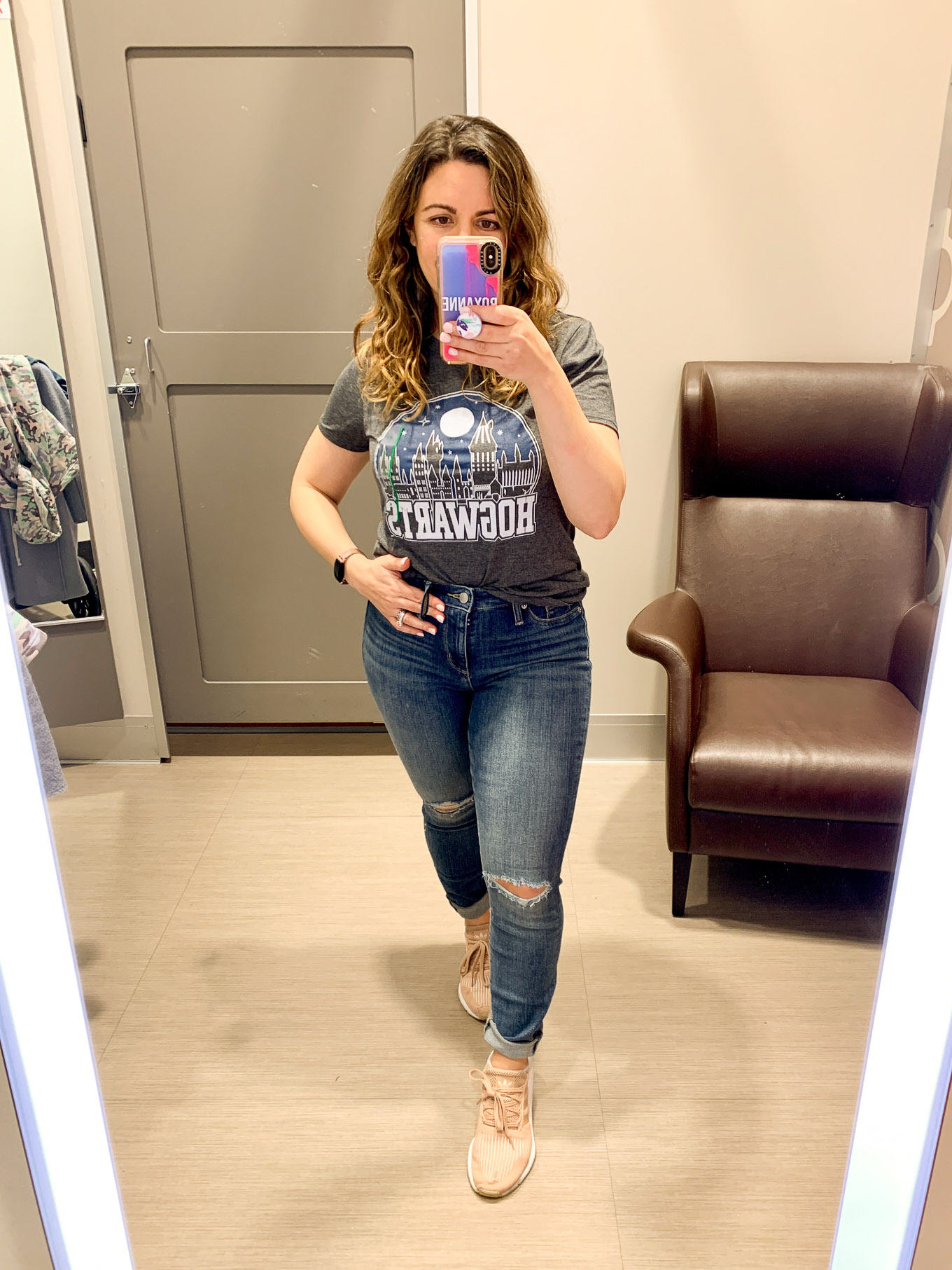Target Try On by popular Chicago fashion blog, Glass of Glam: image of a woman wearing Target Women's Harry Potter Hogwarts Short Sleeve Graphic T-Shirt  and Target Women's High-Rise Jeans.