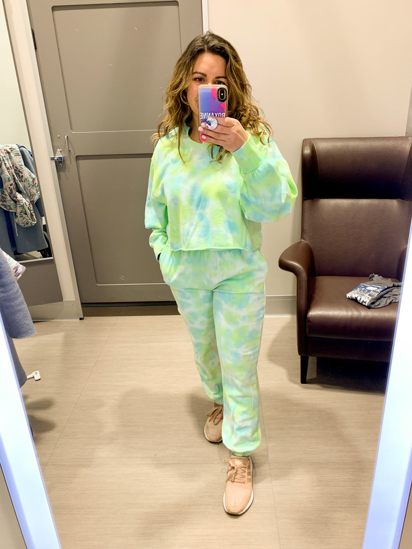 Target Try On by popular Chicago fashion blog, Glass of Glam: image of a woman wearing Target Women's Plus Size Tie-Dye Split Neck Cropped Sweatshirt and Target Women's Tie-Dye Split Neck Cropped Sweatshirt.