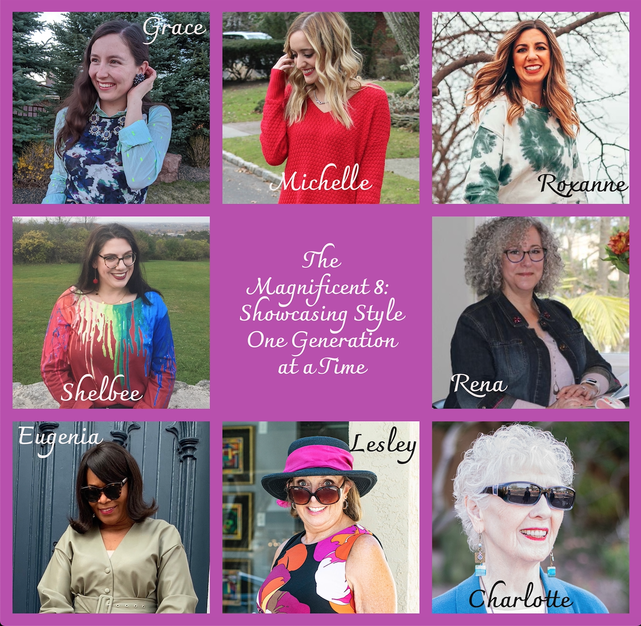 Floral Clothing by popular Chicago fashion blog, Glass of Glam: collage image of the magnificent 8 women.