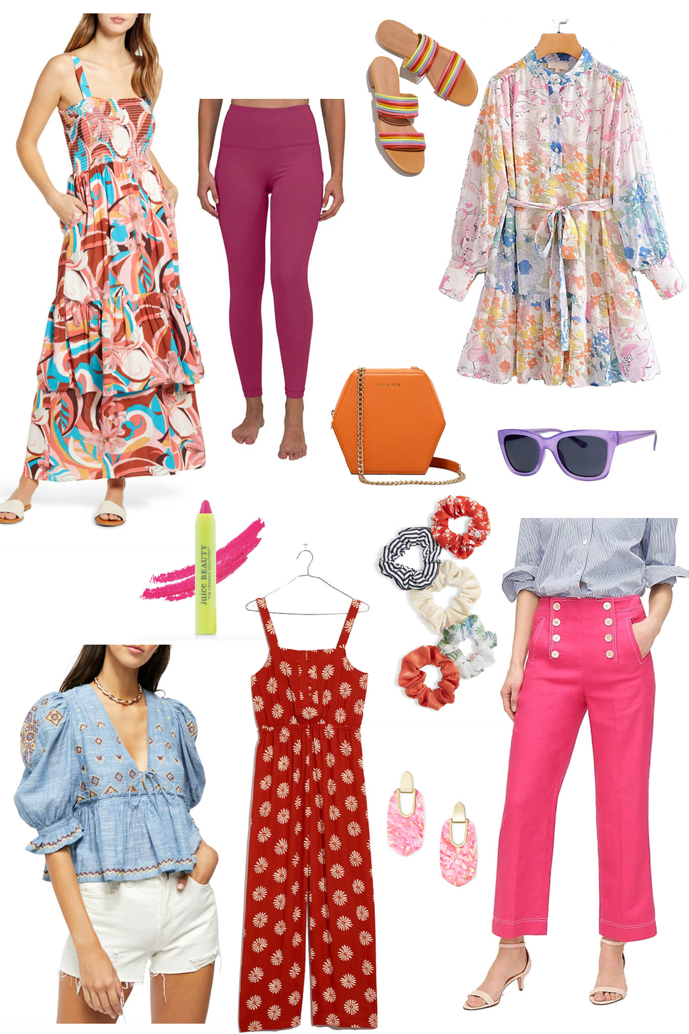 Colorful Spring Outfits by popular Chicago fashion blog, Glass of Glam: collage image of a red jumpsuit, sunglasses, orange purse, pink jeans, sandals, pink earrings, and multi color maxi dress.