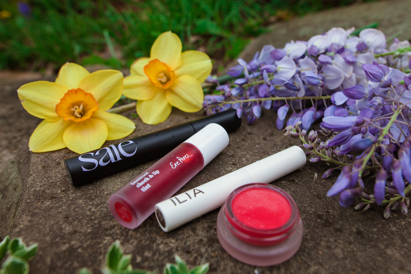Clean Beauty by popular Chicago beauty blog, Glass of Glam: image of Saie Mascara, Ere Perez Lip and Cheek Tint, and Ilia Brow Gel next to some daffodil and lilac blossoms.