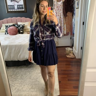 Sleeveless Dress by popular Chicago fashion blog, Glass of Glam: image of a woman standing in her bedroom and wearing a Amazon Imysty Womens Polka Dot V Neck Button Down Ruffles Loose Mini Short T-Shirt Dress, plaid button up shirt, and tan suede booties.