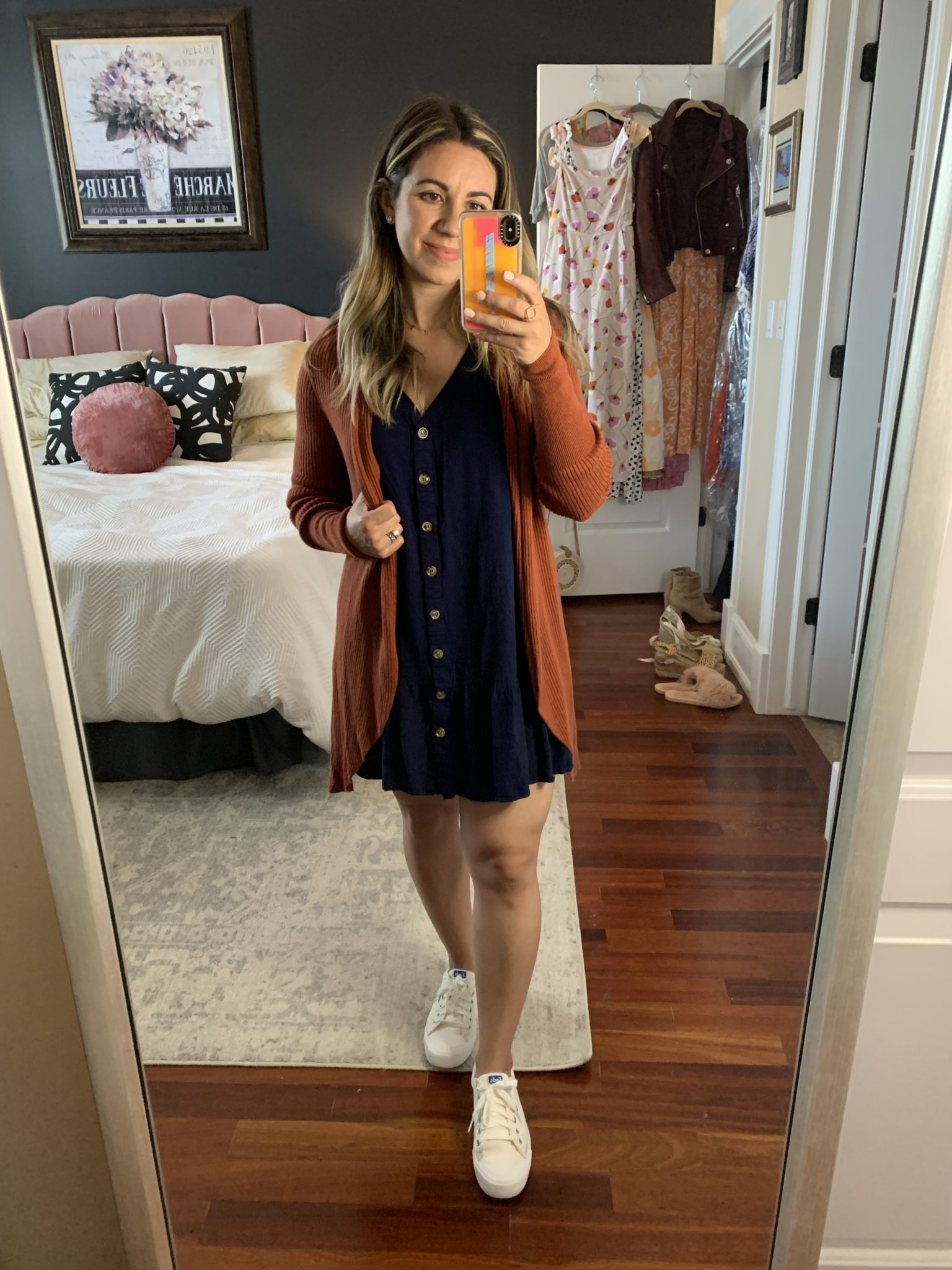 Sleeveless Dress by popular Chicago fashion blog, Glass of Glam: image of a woman standing in her bedroom and wearing a Amazon Imysty Womens Polka Dot V Neck Button Down Ruffles Loose Mini Short T-Shirt Dress, Cozy Long Cardigan LEITH, Zappos Keds Crew Kick 75 Canvas