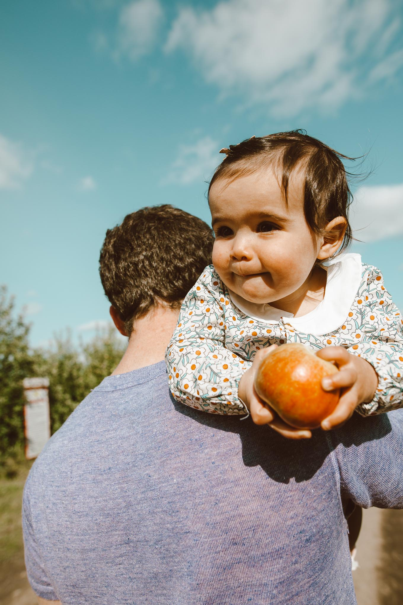 Apple Picking by popular Chicago lifestyle blog, Glass of Glam: image of a dad holding his 1 year old daughter at Apple Holler while she eats an apple.