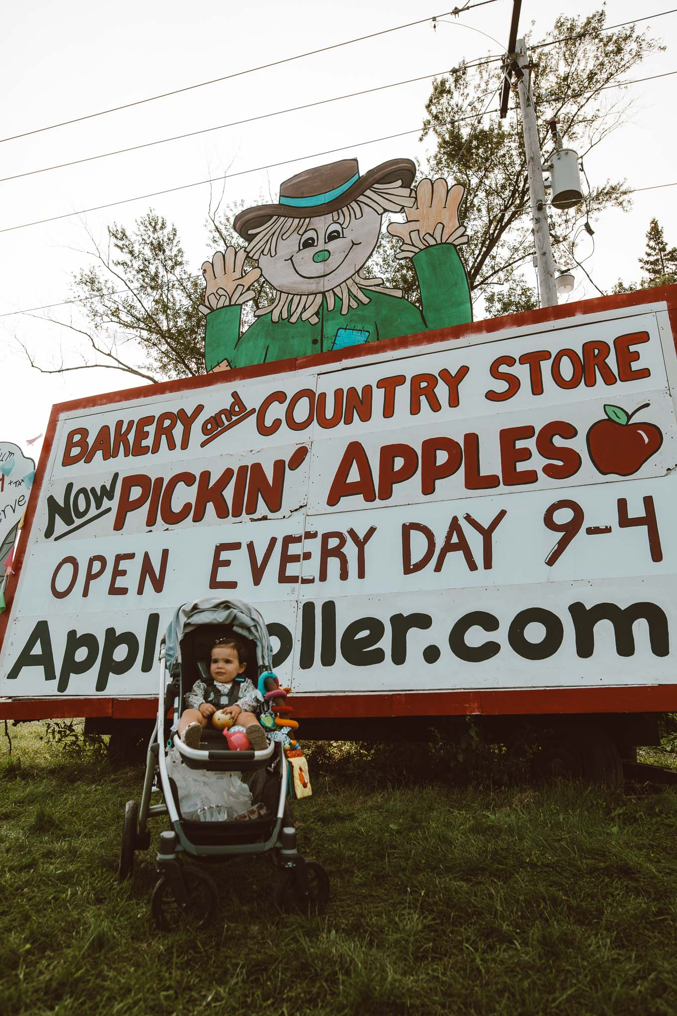 Apple Picking by popular Chicago lifestyle blog, Glass of Glam: image of a 1 year old baby girl sitting in her stroller in front of a Apple Holler sign.