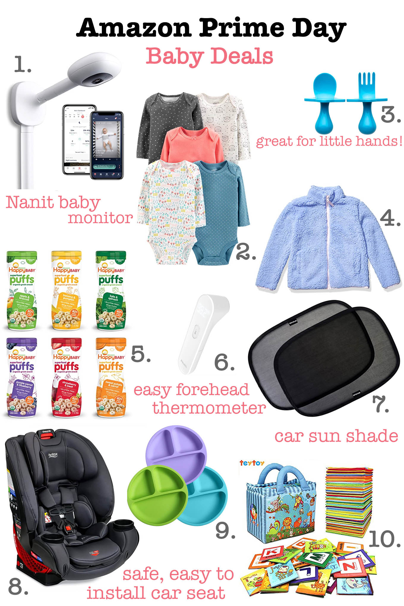Prime Day by popular Chicago life and style blog, Glass of Glam: collage image of a Nanit baby monitor, carseat, car sun shade, forehead thermometer, onesies, Happy Baby Super Food puffs, Soft Alphabet flash cards, and baby utensil set.
