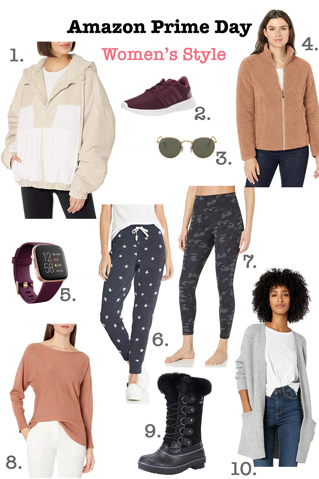 Prime Day by popular Chicago life and style blog, Glass of Glam: collage image of a Alo Yoga Reversible Sherpa Jacket, Adidas Cloudfoam Shoes, RayBan Metal Round Sunglasses, Amazon Essentials Polar Fleece Lined Sherpa Jacket, Fitbit Versa, Amazon Essentials French Terry Joggers, Core10 High Waist Leggings, Lark & Ro Long Sleeve Bateau Neck Sweater, Waterproof Winter Boots, Goodthreads Boucle Cardigan