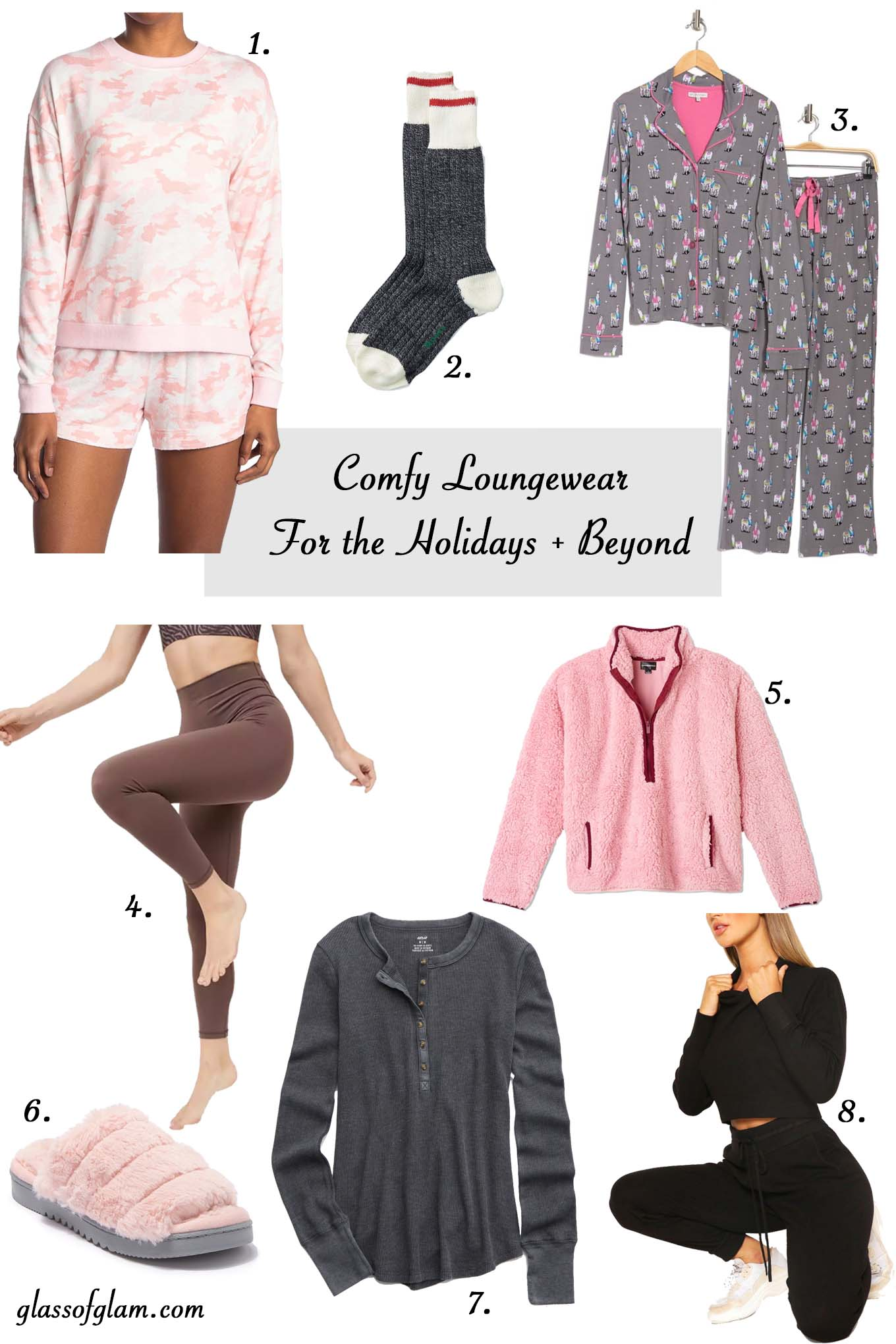 Womens Loungewear by popular Chicago fashion blog, Glass of Glam: collage image of loungewear sets, slippers, and socks.