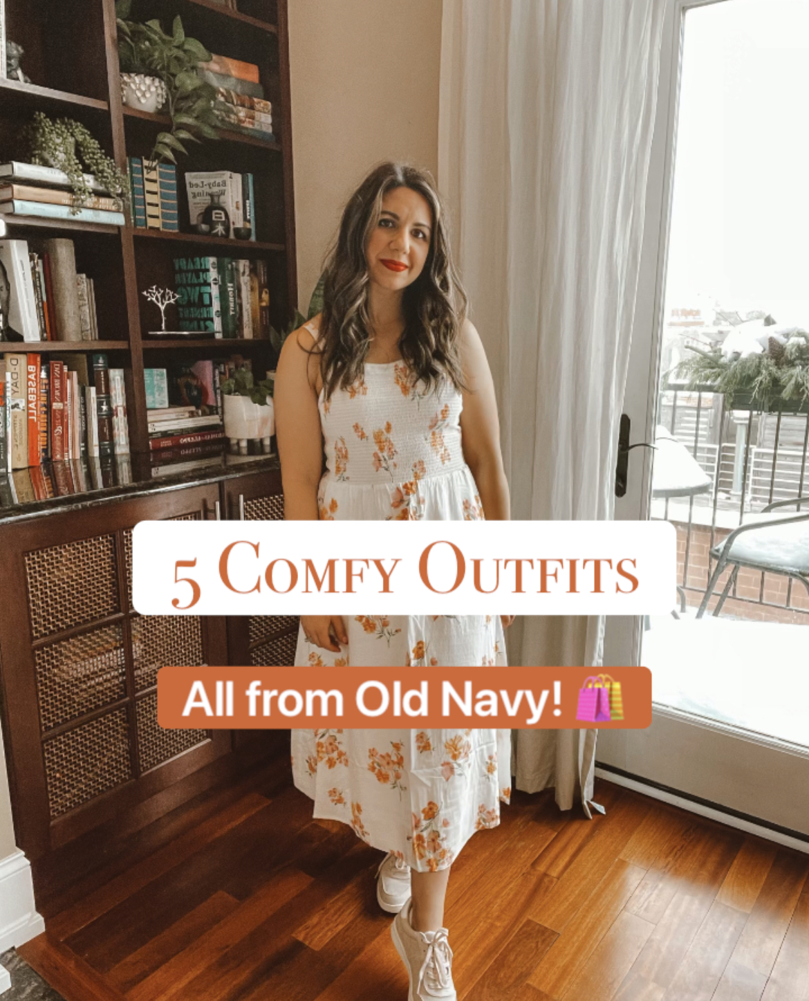 Spring Outfits from Old Navy by popular Chicago fashion blog, Glass of Glam: Pinterest image of a woman wearing a orange and white floral dress from Old Navy.
