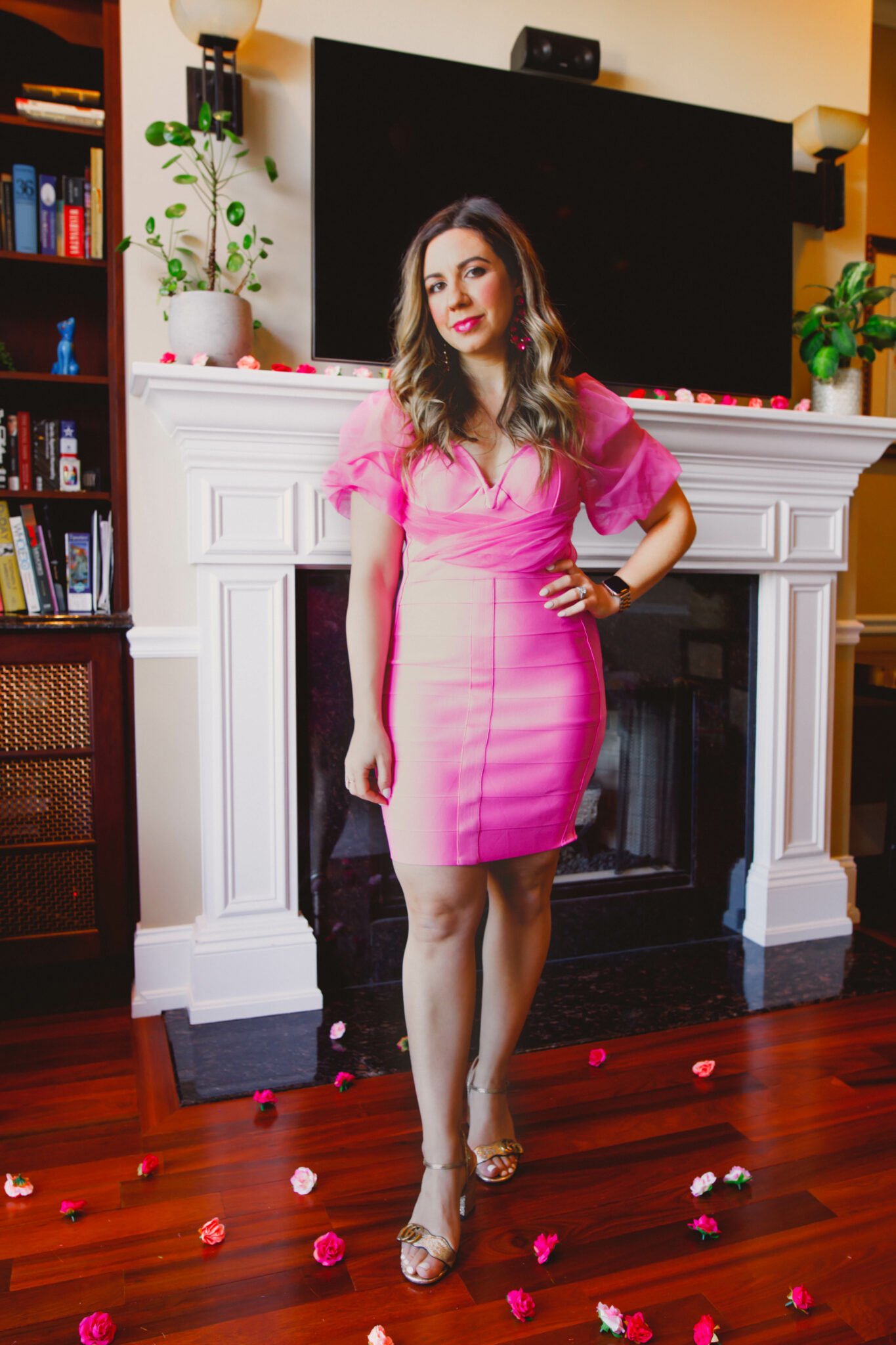 Little Pink Dress by popular Chicago fashion blog, Glass of Glam: image of a woman wearing a Missguided dress, Gucci heels, and pink statement earrings.