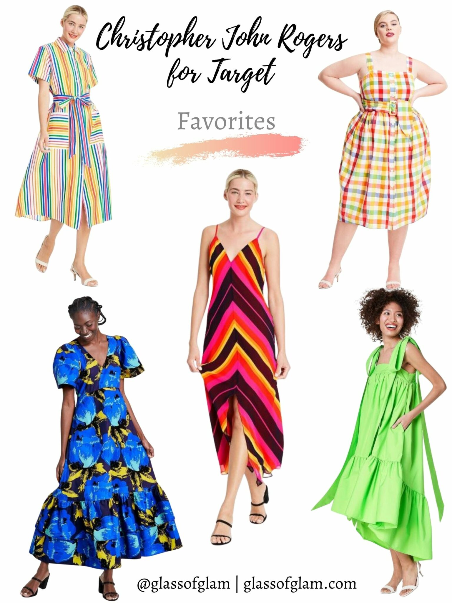 Christopher John Rogers Target by popular Chicago fashion blog, Glass of Glam: collage image of Christopher John Rogers dresses.