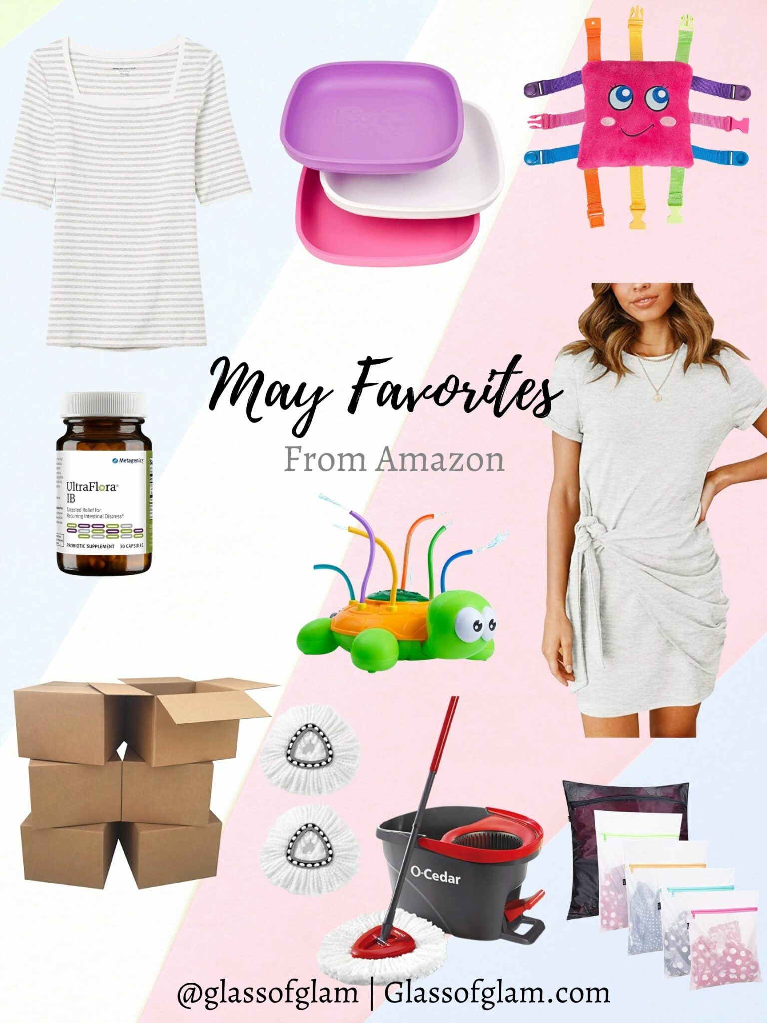 Amazon Favorites by popular Chicago life and style blog, Glass of Glam: collage image of a grey and white stripe 3/4 length sleeve shirt, plastic plates, sensory toy, Ultra Flora IB, moving boxes, side tie dress, sprinkler toy, spin mop and mesh laundry bags.