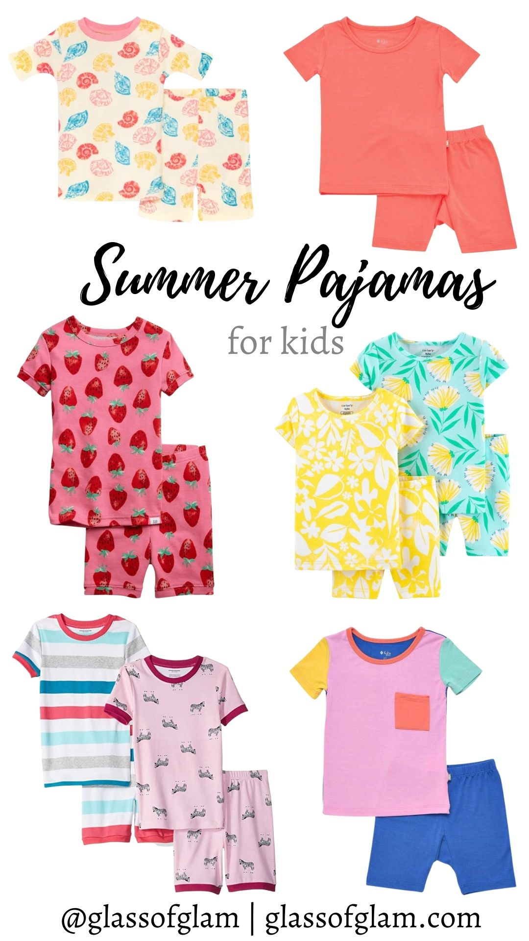 Kids Summer Pajamas by popular Chicago fashion blog, Glass of Glam: collage image of girls summer pajama sets.