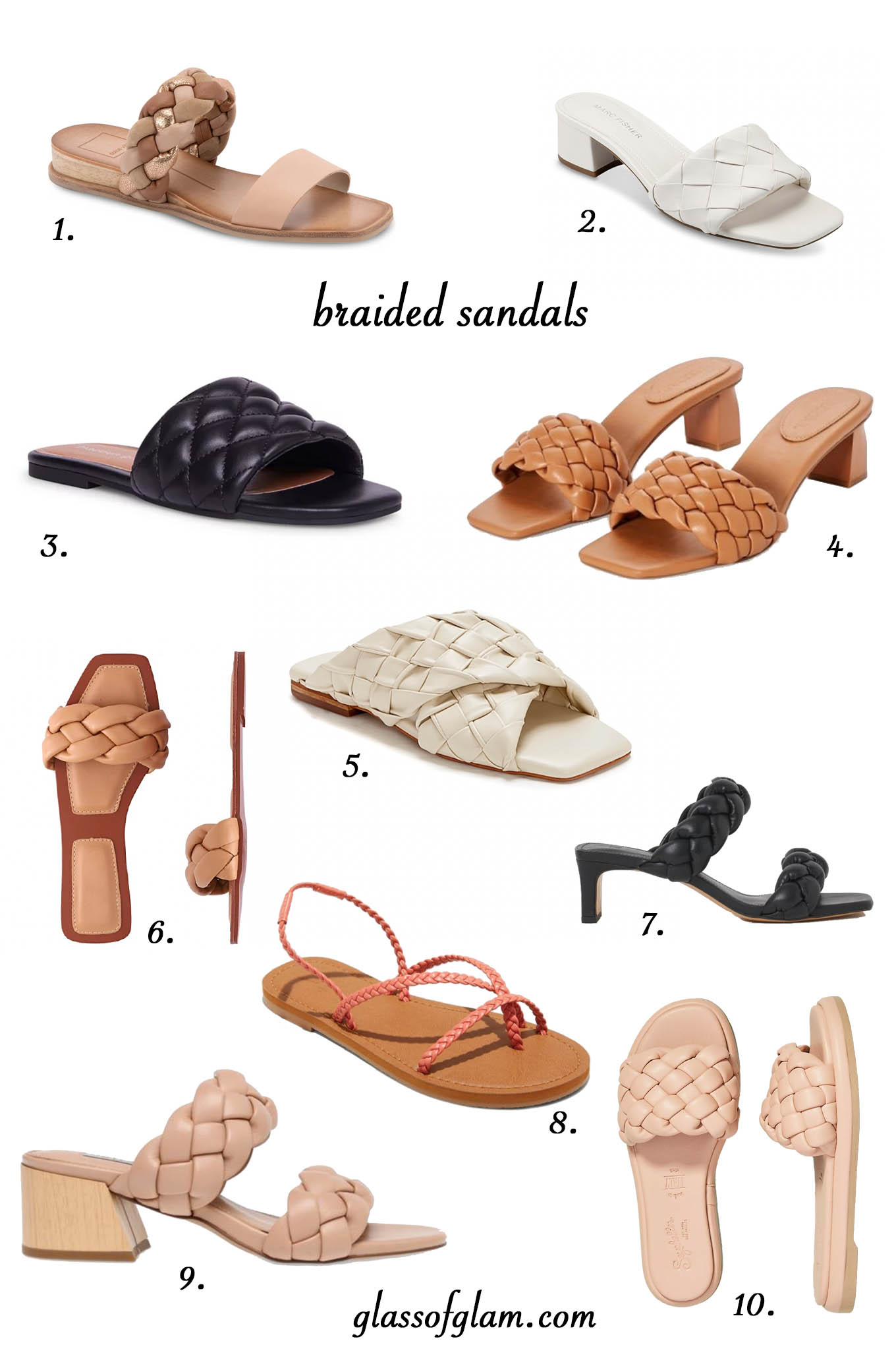 Braided Sandals by popular Chicago fashion blog, Glass of Glam: collage image of braided sandals.