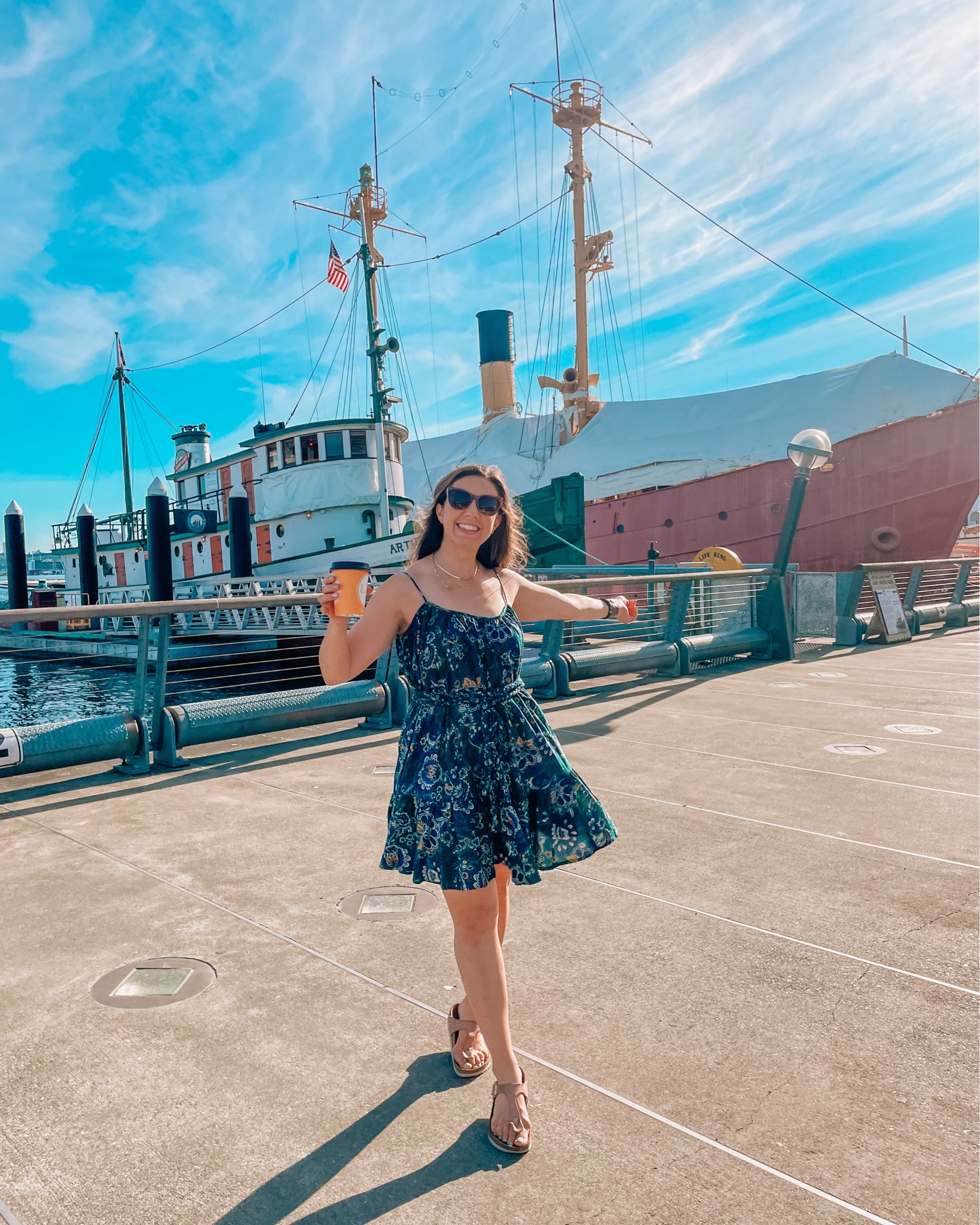 Paisley Dress by popular Chicago fashion blog, Glass of Glam: image of a woman wearing a blue paisley dress and standing in front of a white boat.