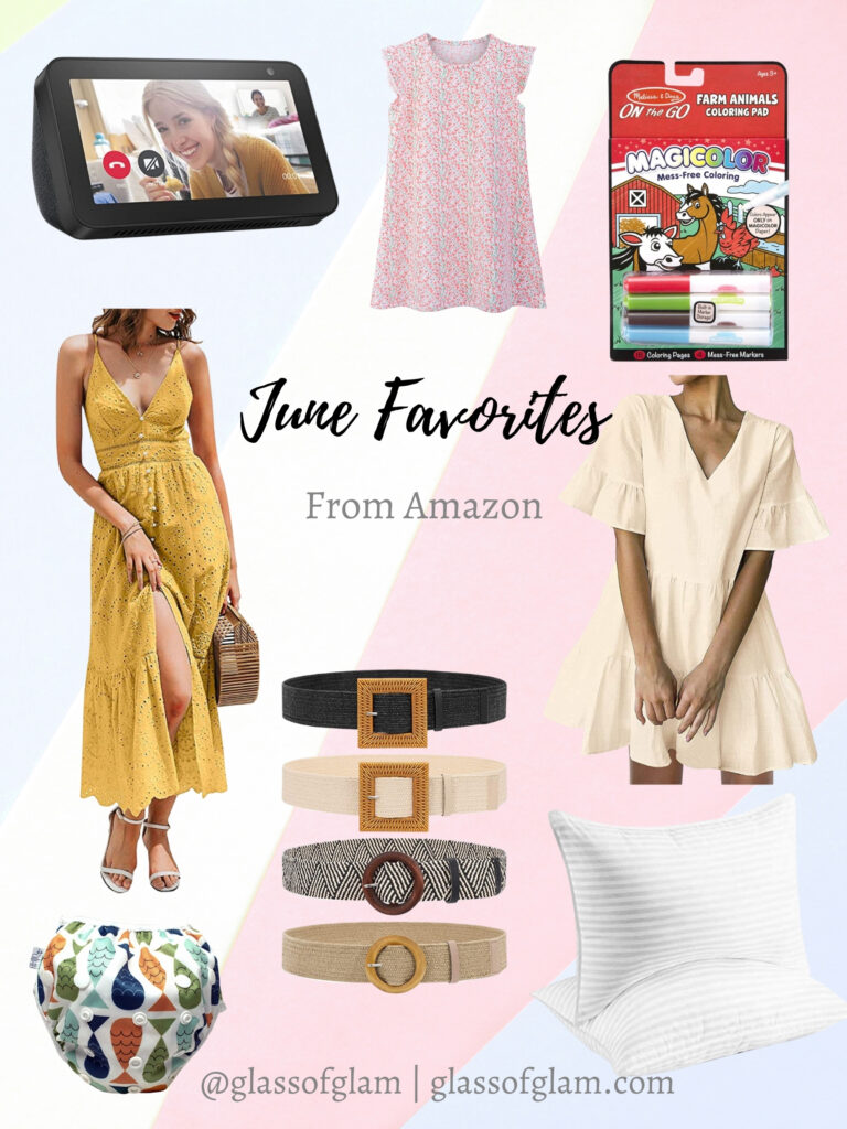 Amazon Favorites by popular Chicago life and style blog, Glass of glam: collage image of yellow eyelet maxi dress, dream v-neck ruffle hem mini dress, waist belts, Melissa and Doug Magicolor, hotel collection gel pillows, reusable swim diaper, Toddler nightgown and Amazon Echo.