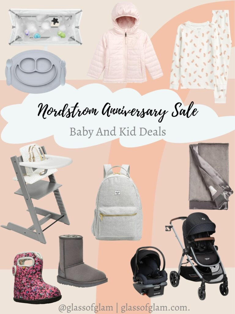 Nordstrom Anniversary Sale by popular Chicago life and style blog, Glass of Glam: collage image of a pink puffer coat, pink and white pajama set, highchair, egg boots, carseat and stroller set, grey blanket, silicon plate, and bin.