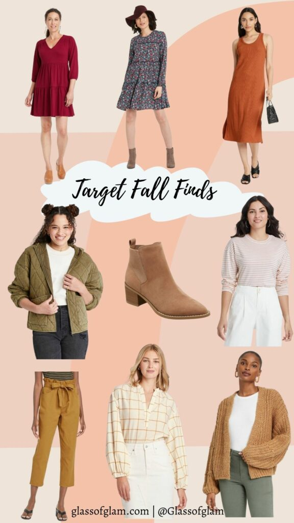Target Fashion by popular Chicago fashion blog, Glass of Glam: collage image of Target dresses, Target jacket, Target brown suede ankle boots, Target paper bag pants, and Target blouse.